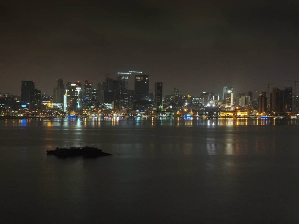 night shot of Luanda, Angola